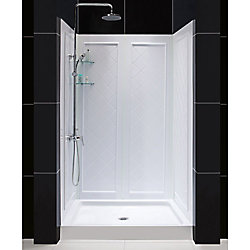 DreamLine 34 inch D x 48 inch W Center Drain Acrylic Shower Base and QWALL-5 Backwall Kit In White