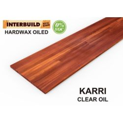 INTERBUILD Karri Hardwood Countertop 96 inch x 25 inch x 1.2 inch, Clear Finish