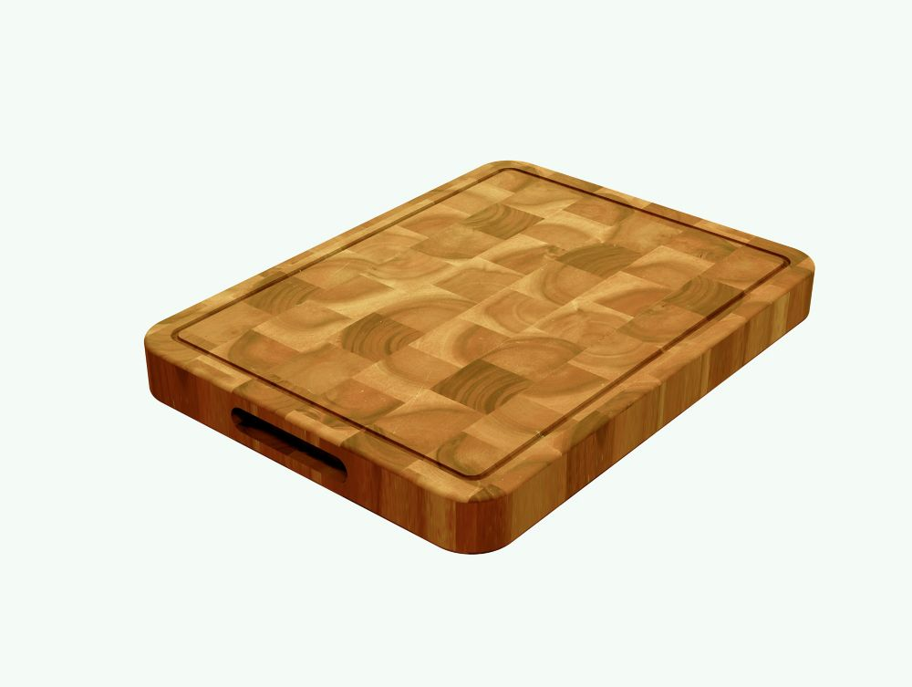 INTERBUILD Acacia, Butcher Block Chopping Board Golden Teak, 400x300x40mm 16 inch x 12 inch x1.5 inch
