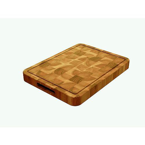 INTERBUILD Acacia, Butcher Block Chopping Board Golden Teak, 400x300x40mm 16 inch x 12 inch x1.5 inch