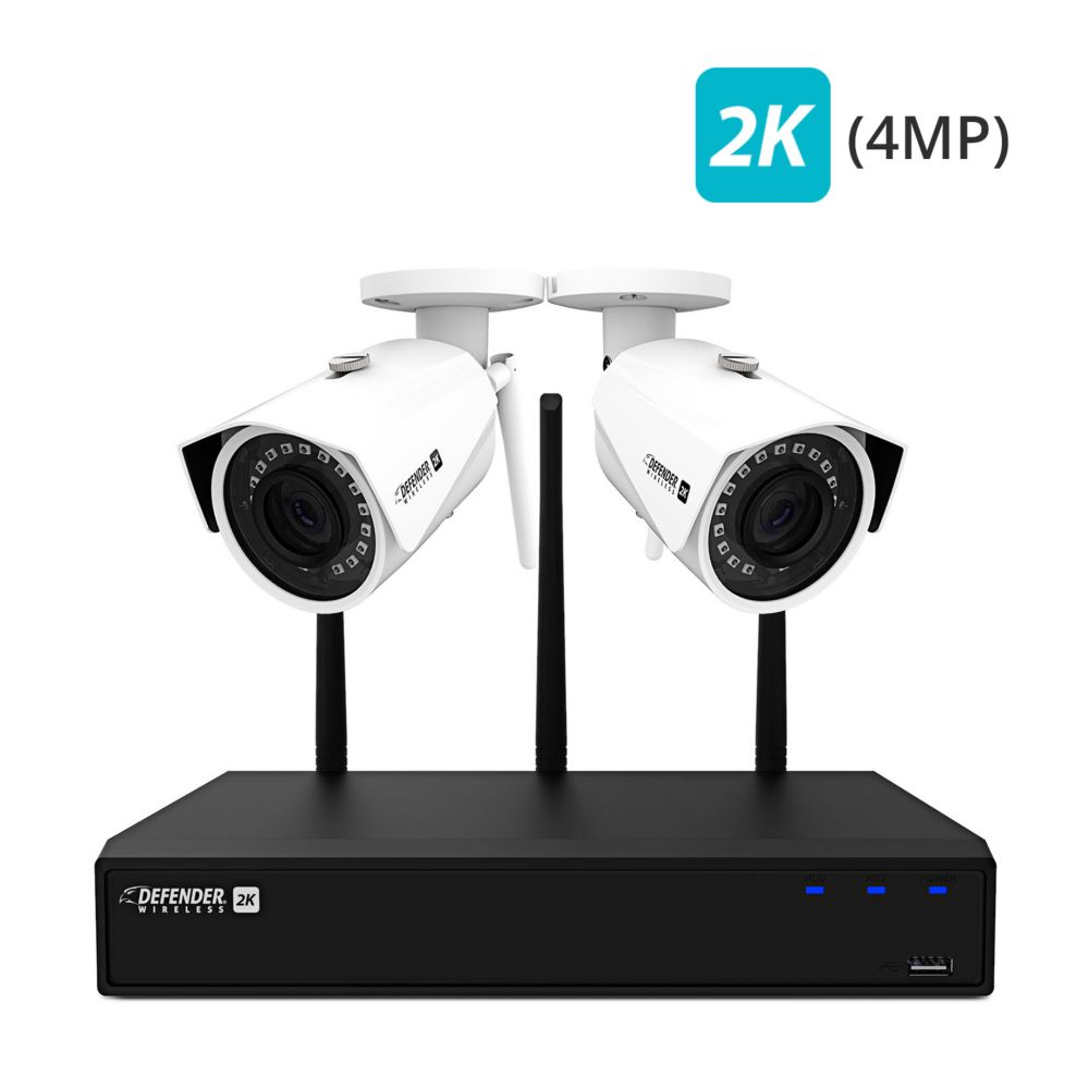 Defender Defender 2K (4MP) Wireless 4 Channel 1TB Security System with 2 Wi-Fi Cameras