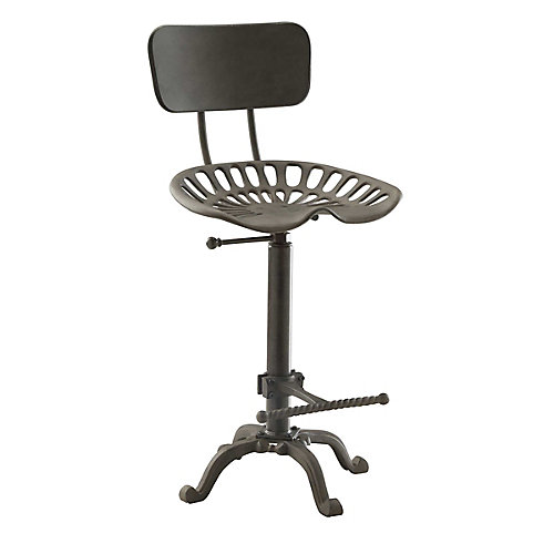 August Industrial Tractor Seat Stool with Back Rest