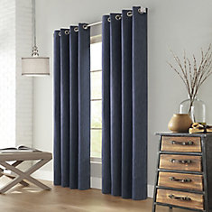 Sydney Bark Cloth Blackout Grommet 52x95 Denim