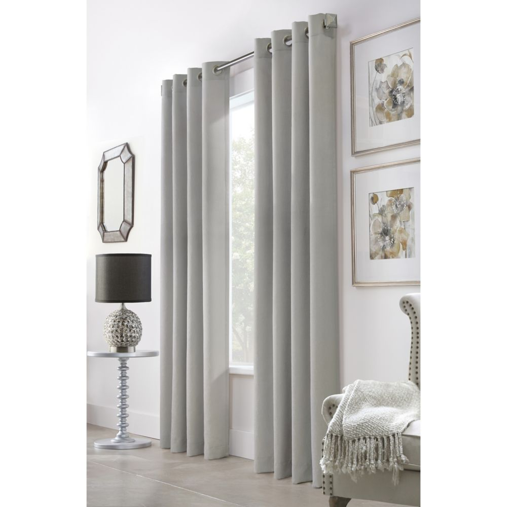 Home Decorators Collection Belfast Diamond Jacquard Light Filtering Grommet 52x63 Silver