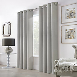 Home Decorators Collection Belfast Light Filtering Grommet Curtain 52 inches width X 108 inches length, Silver