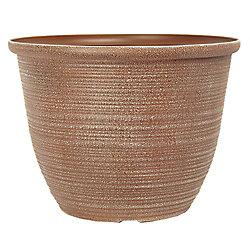 THD Bombay Round plastic Powdered clay Planter 13 inch