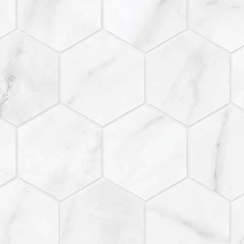 Carrara Nevoso 2-inch HD Matte Hexagon Porcelain Mosaic Tile