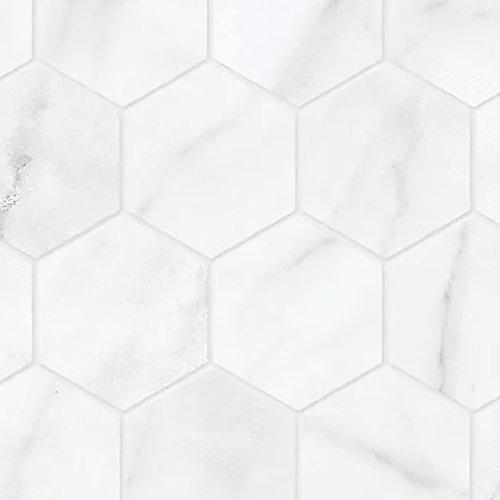 Carreaux de mosaïque, 2 po, porcelaine hexagonale, mate HD, Carrara Nevoso