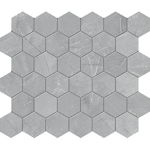 Pulpis Grey 2-inch HD Matte Hexagon Porcelain Mosaic Tile