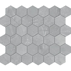 Carreaux de mosaïque, 2 po, porcelaine hexagonale mate HD, gris Pulpis