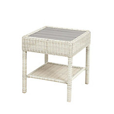 Park Meadows Off-White Wicker Slat Top Accent Table
