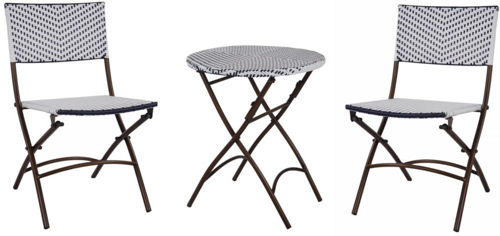 Hampton Bay French Café 3-Piece Wicker Folding Patio Bistro Set