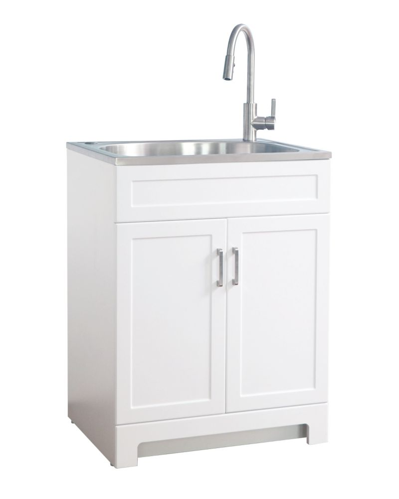 GLACIER BAY All in One 25-inch Laundry Cabinet with Stainless Steel Sink