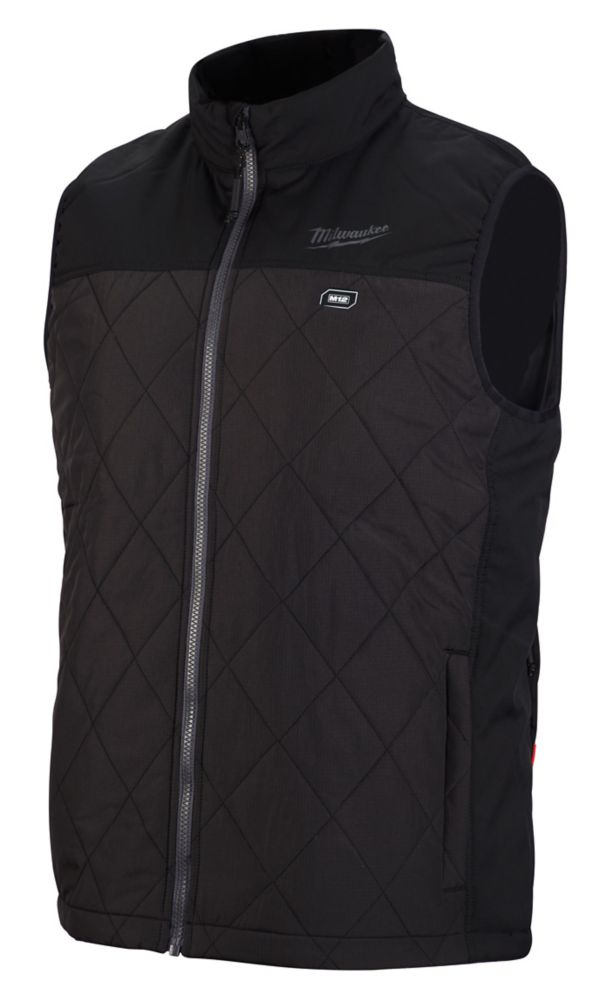 Milwaukee Tool Men's Medium M12 12-Volt Lithium-Ion Cordless AXIS Black Heated Quilted Vest Kit w/ 2.0Ah Battery