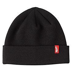 Bonnet à ourlet en tricot doublé de molleton pour hommes, noir