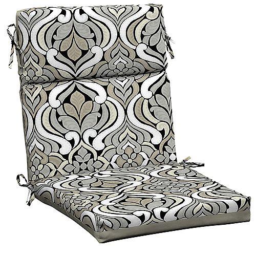 Hampton Bay Black & Gray Tile High Back Dining Chair Cushion