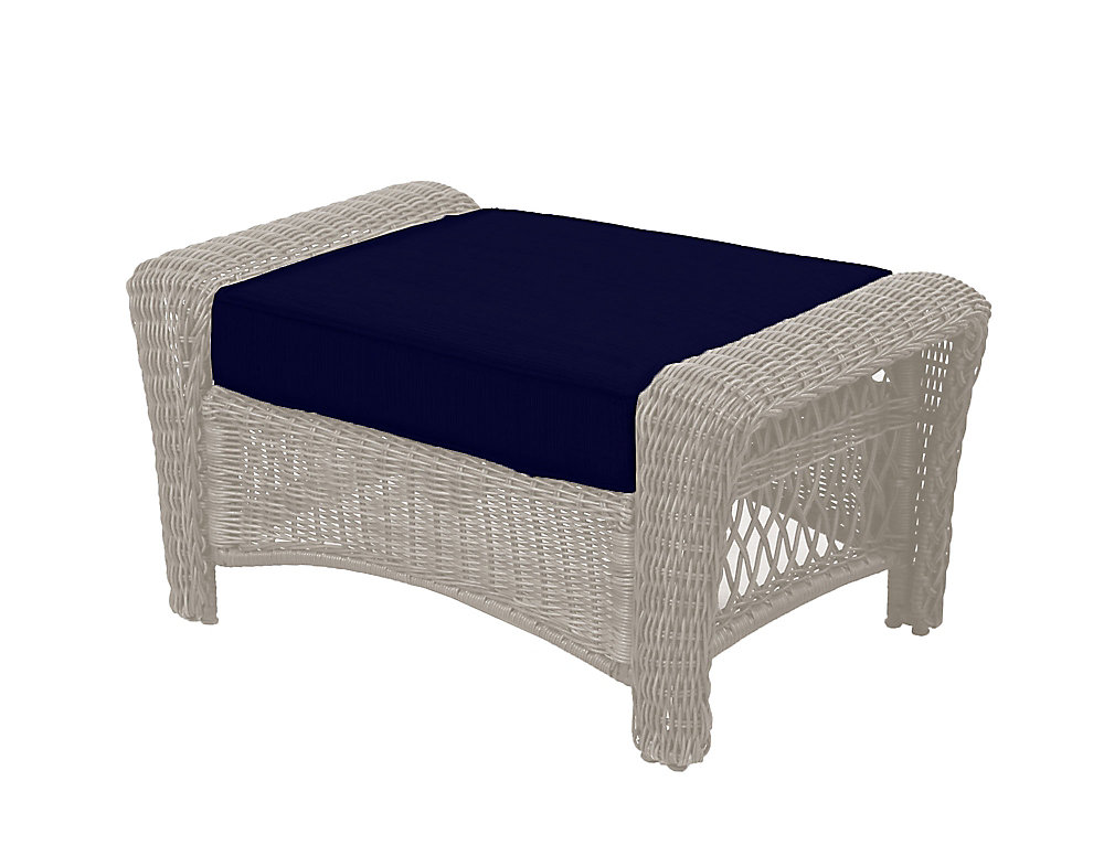 Park Meadows Off White Wicker Ottoman W Navy Cushion