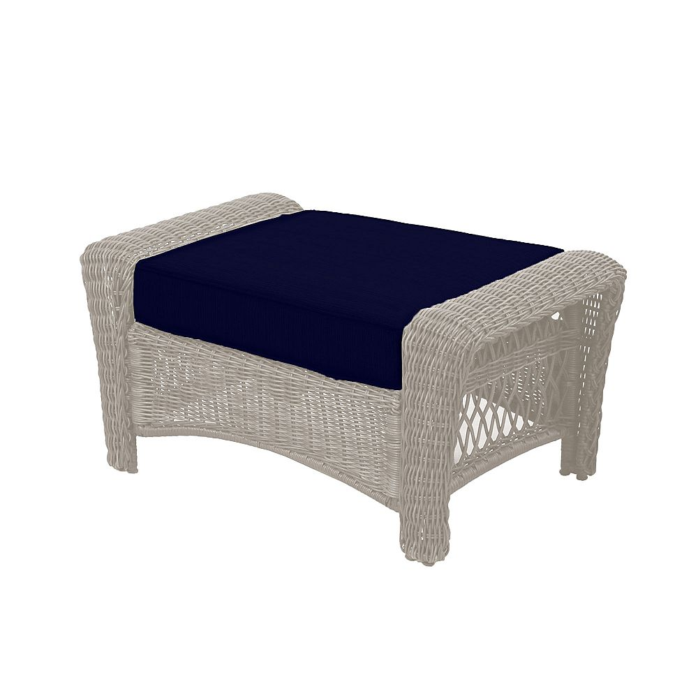 Hampton Bay Park Meadows Off-White Wicker Ottoman w/ Navy Cushion