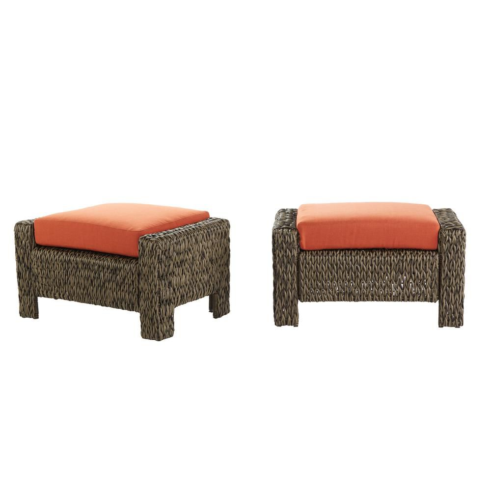 Hampton Bay Laguna Point Wicker Pack 2 Ottomans w/ Quarry Red Cushion