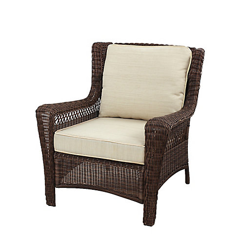 Park Meadows Brown Wicker Lounge Chair w/ Beige Cushion