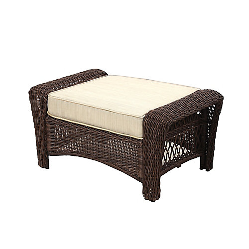 Park Meadows Brown Wicker Ottoman w/ Beige Cushion