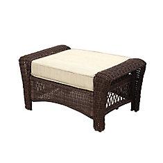Park Meadows Brown Wicker Ottoman w/ Beige Cushion