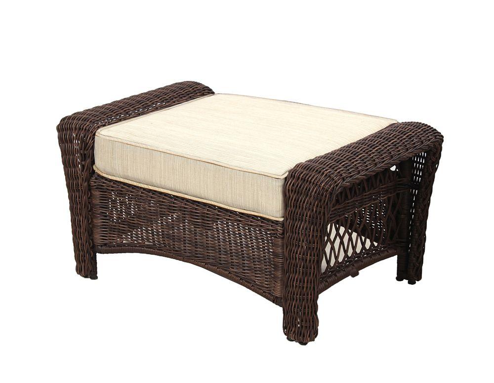 Hampton Bay Park Meadows Brown Wicker Outdoor Patio Ottoman with Beige Cushion
