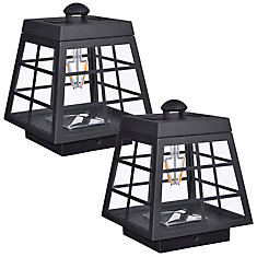 Set of 2 solar LED post cap lights with lantern-style design and vintage bulb