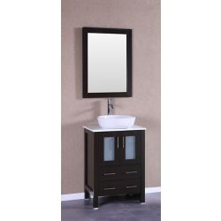 Bosconi 24 inch W x 18 inch D Bath Vanity in Espresso with Pheonix Stone Vanity Top in White with White Basin and Mirror