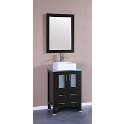 Bosconi 24 inch W x 18 inch D Bath Vanity in Espresso with Tempered Glass Vanity Top in Green with White Basin and Mirror