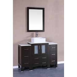Bosconi 48 inch W x 18 inch D Bath Vanity in Espresso with Pheonix Stone Vanity Top in White with White Basin and Mirror