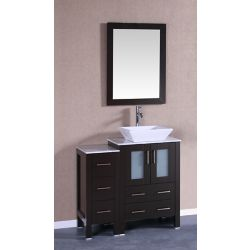 Bosconi 36 inch W x 18 inch D Bath Vanity in Espresso with Carrara Marble Vanity Top in White with White Basin and Mirror