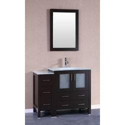 Bosconi 42 inch W x 18 inch D Bath Vanity in Espresso with Tempered Glass Vanity Top in White with White Basin and Mirror