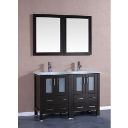 Bosconi 47 inch W x 18 inch D Bath Vanity in Espresso with Tempered Glass Vanity Top in White with White Basins and Mirrors