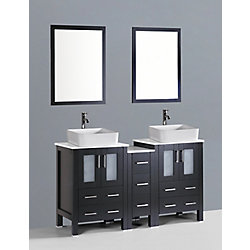 Bosconi 60 inch W x 18 inch D Bath Vanity in Espresso with Pheonix Stone Vanity Top in White with White Basins and Mirrors