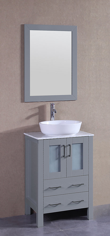 Superb 24 Inch W X 18 Inch D Bath Vanity In Gray With Carrara Marble Vanity Top In White With White Basin And Mirror Download Free Architecture Designs Grimeyleaguecom