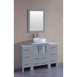 Bosconi 48 inch W x 18 inch D Bath Vanity in Gray with Carrara Marble Vanity Top in White with White Basin and Mirror