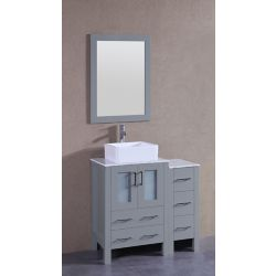 Bosconi 36 inch W x 18 inch D Bath Vanity in Gray with Carrara Marble Vanity Top in White with White Basin and Mirror