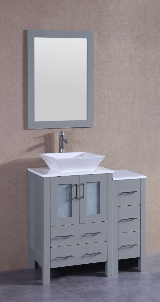 Bosconi 36 inch W x 18 inch D Bath Vanity in Gray with Pheonix Stone Vanity Top in White with White Basin and Mirror