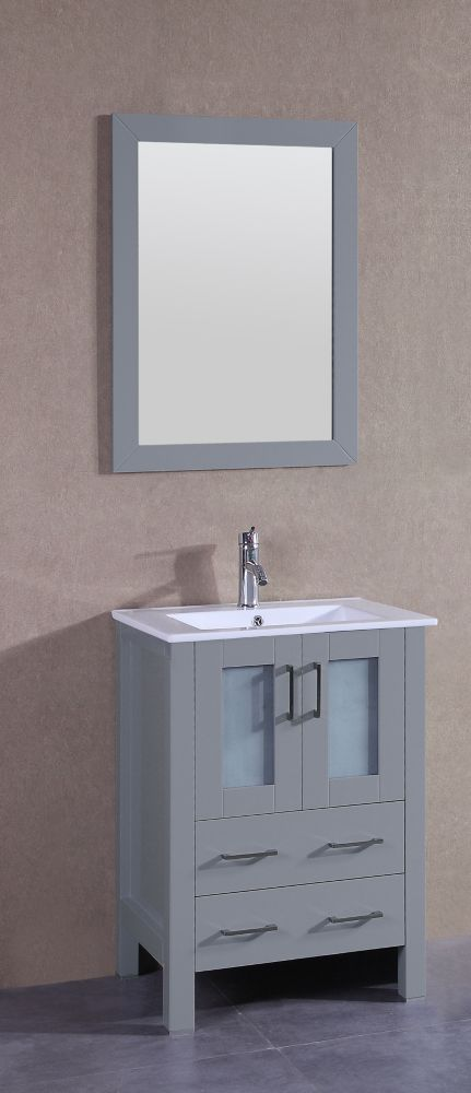 Bosconi 24 inch W x 19 inch D Bath Vanity in Gray with Ceramic Vanity Top in White with White Basin and Mirror