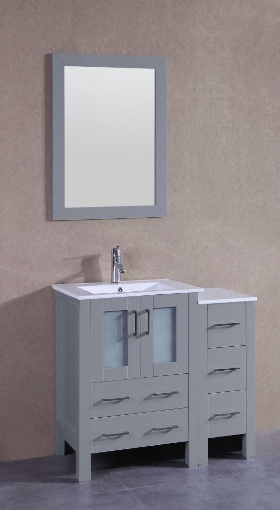 Bosconi 37 inch W x 19 inch D Bath Vanity in Gray with ...