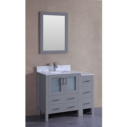 Bosconi 42 inch W x 18 inch D Bath Vanity in Gray with Carrara Marble Vanity Top in White with White Basin and Mirror