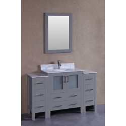 Bosconi 54 inch W x 18 inch D Bath Vanity in Gray with Carrara Marble Vanity Top in White with White Basin and Mirror