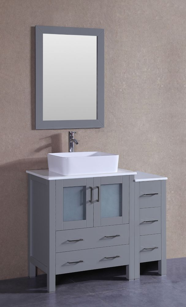 Bosconi 42 inch W x 18 inch D Bath Vanity in Gray with Pheonix Stone Vanity Top in White with White Basin and Mirror