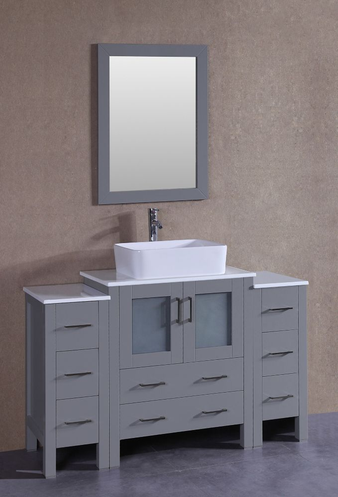 Bosconi 54 inch W x 18 inch D Bath Vanity in Gray with Pheonix Stone Vanity Top in White with White Basin and Mirror