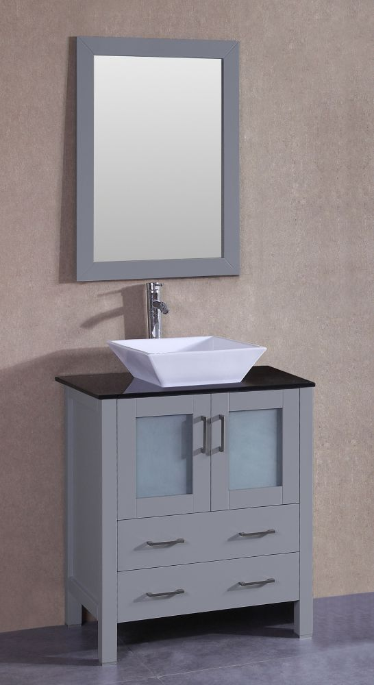 Bosconi 30 inch W x 18 inch D Bath Vanity in Gray with ...