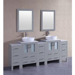 Bosconi 84 inch W x 18 inch D Bath Vanity in Gray with Carrara Marble Vanity Top in White with White Basins and Mirrors