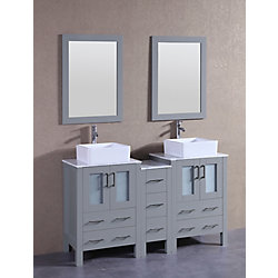 Bosconi 60 inch W x 18 inch D Bath Vanity in Gray with Carrara Marble Vanity Top in White with White Basins and Mirrors