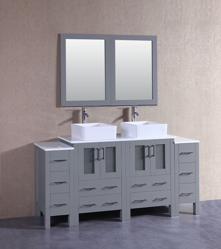 Bosconi 72 inch W x 18 inch D Bath Vanity in Gray with Pheonix Stone Vanity Top in White with White Basins and Mirrors