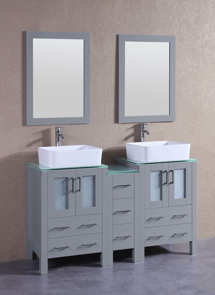 Bosconi 60 inch W x 18 inch D Bath Vanity in Gray with Tempered Glass Vanity Top in Green with White Basins and Mirrors